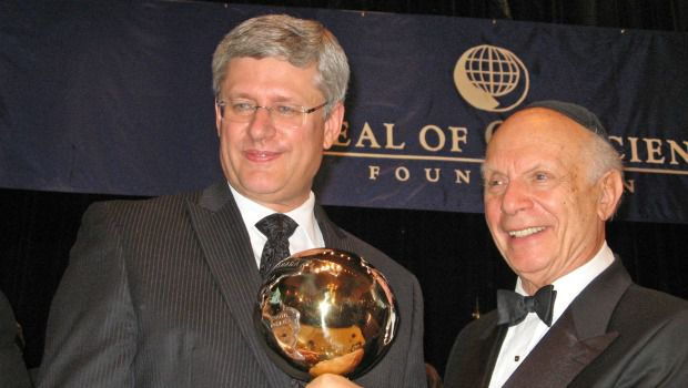 Award: Canadian Prime Minister Stephen Harper stands with Rabbi Arthur Schneier.