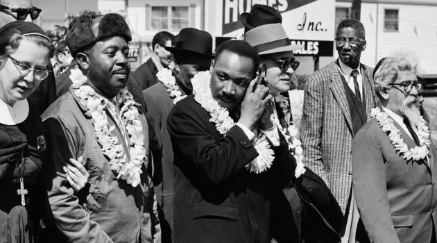?Pray With Our Legs: Rabbi Abraham Joshua Heschel, right, marches with Dr. Martin Luther King and other civil rights leaders.