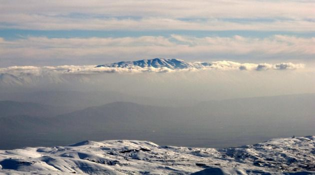 The snow-covered Mount Hermon, which sits on the border between Lebanon, Syria and Israel
