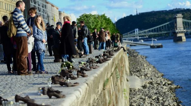 Shoes along the embankment of the Danube River in Budapest serve as a memorial to victims of the Holocaust.