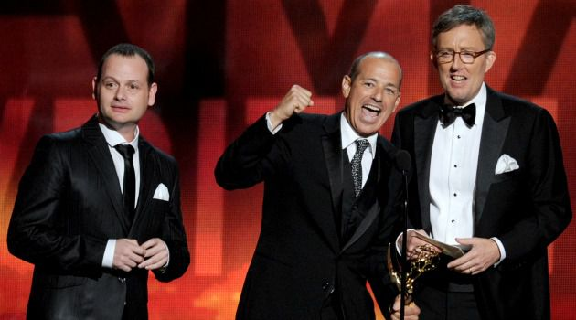 ?Homeland? writer Gideon Raff, left, celebrates Emmy win. His new series, ?Dig,? will not be filmed in East Jerusalem, NBC said.