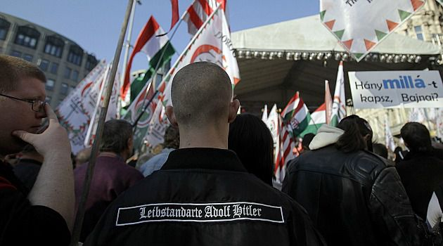 Far Right: Supporters of the neo-Nazi Jobbik party rally in Hungary.