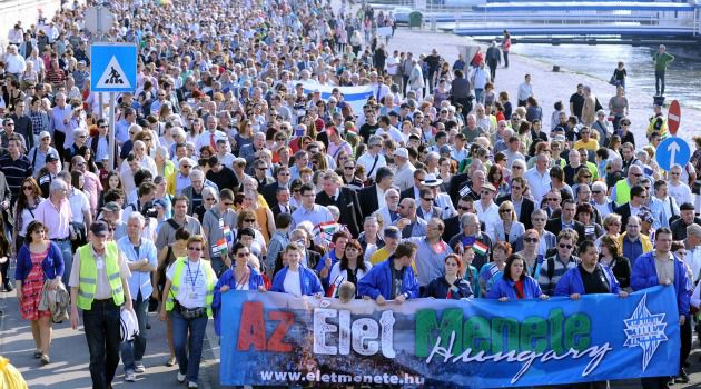 Fighting Back: Tens of thousands march in Budapest to protest rising anti-Semitism in Hungary.