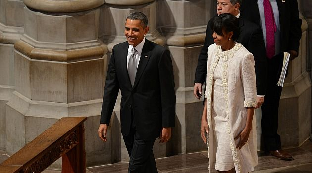 A Jew-ier Union: President Barack Obama and First Lady Michelle Obama arrive at the inaugural prayer service at the National Cathedral.