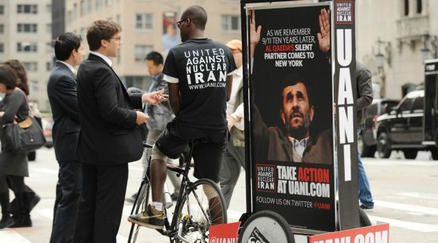 No to Iran: Activists take to streets of New York to call for stepped-up action to block Iran from obtaining a nuclear weapon.