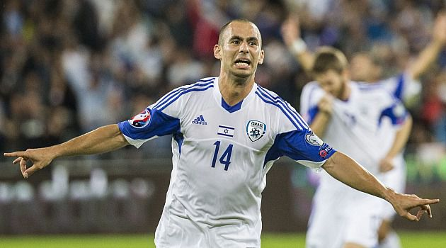 Goal!! Israel's midfielder Gil Vermouth celebrates after scoring against Bosnia-Herzegovina.