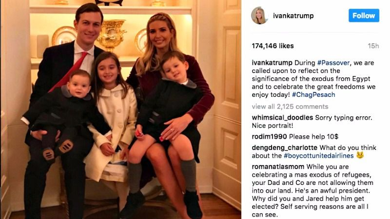 Ivanka Trump posted this image and message on her Instagram and Twitter feeds Monday night.