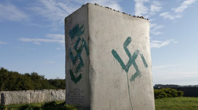 Shameful: Vandals desecrate the memorial to Jews killed by Polish neighbors in the town of Jedwabne as the Holocaust gathered pace in 1941.