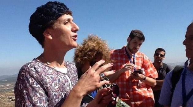 West Bank View: Shuli Moalem addresses journalists at Neve Daniel scenic lookout.