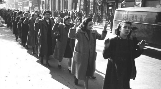 Captured Jewish women in Hungary are marched down Budapest's Wesselényi Street in October, 1944.