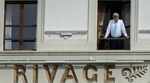 Tough Talks: John Kerry takes break from nuclear talks with Iran at a Swiss hotel.