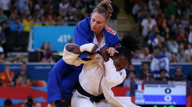 Bad Day: Israel?s Alice Schlesinger battles unsuccessfully in judo against France?s Gévrise Émane.