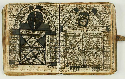 Manuscript of Practical Kabbalah depicting angels. From Morocco, 1925.
