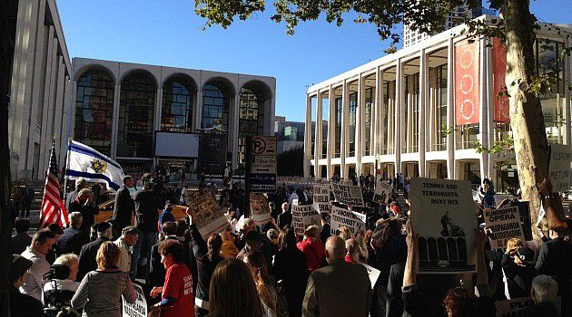Anger and Art: Protesters gather last month outside the Metropolitan Opera in New York's Lincoln Center.