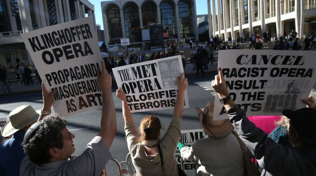 Protestors rally against 'The Death of Klinghoffer' opera in New York.
