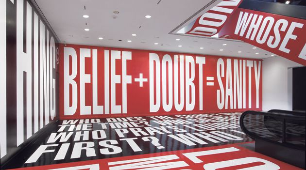 Black and White and Red All Over: At the Hirshhorn Museum in Washington D.C., Barbara Kruger?s texts are plastered to 6,700 square feet of walls and floors.