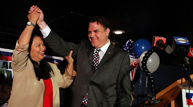 Forging Alliance: Rep. Alan Grayson (D-Fla.) celebrates his return to congress, a victory that was achieved by winning the support of Puerto Ricans in central Florida.