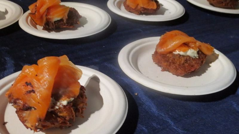 Shelsky's caraway-seeded potato latkes had honey-mustard inside, and were topped with horseradish cream cheese and pastrami smoked salmon — a riff on one of their sandwiches.
