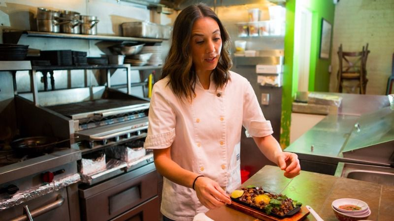 Leah Cohen in the Pig and Khao kitchen.