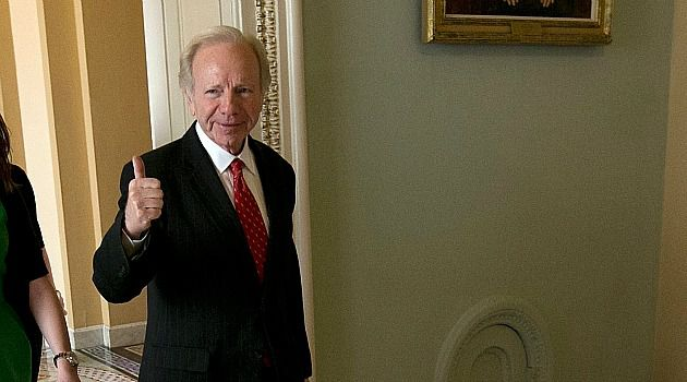 Swan Song: Joe Lieberman prepares for his final speech in Senate.