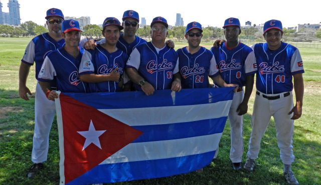 Debutants: Members of Cuba?s first-ever Maccabiah Games team poses in Israel.