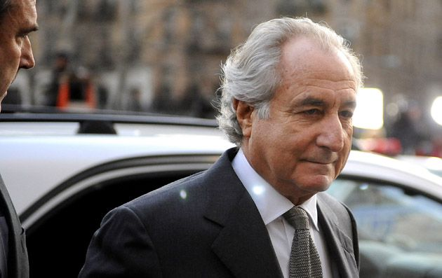 Ponzi Schemer: Financier Bernard Madoff arrives at Manhattan Federal court on March 12, 2009, where he entered a guilty plea on 11 felony counts.