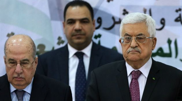 Mahmoud Abbas presides over meeting of Palestinian leadership council.