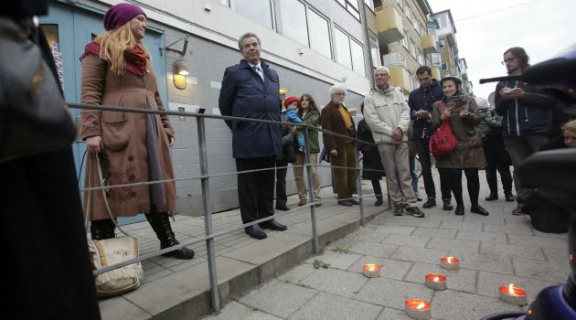No Justice: Swedish Jews gather at scene of bombing at Jewish center in Malmo.