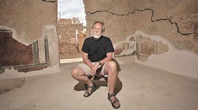 Italian conservation expert Maurizio Tagliapietra at the warehouse on Masada.