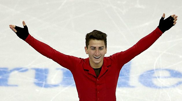 Going for Gold: Max Aaron celebrates winning the national Figure Skating Championships. Now the Jewish athlete moves on to the world competition and hopefully the 2014 Winter Olympics in Sochi.