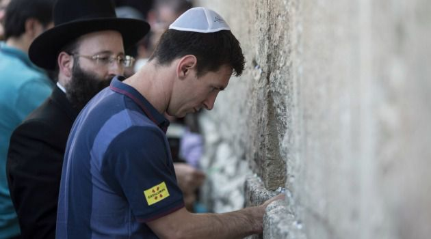 He Scores: Soccer superstar Lionel Messi leaves note at the Western Wall in Jerusalem.