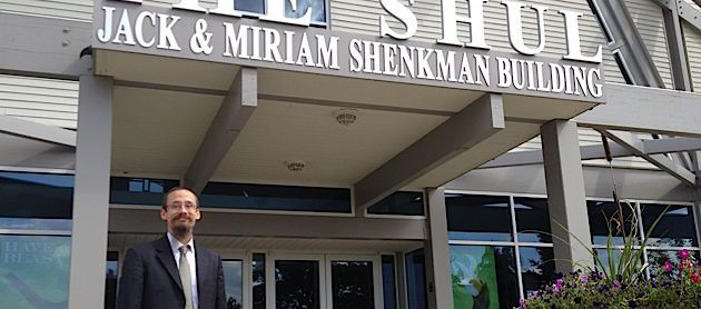 Shell Campus: Dov Stein, head of academics at Michigan Jewish Institute, stands outside the entrance to The Shul, a $6 million synagogue in West Bloomfield, where some MJI classes are held.