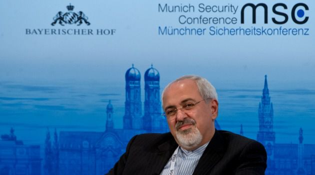 Iranian Foreign Minister Mohammed Javad Zarif attends a panel discussion at the Munich Security Conference.