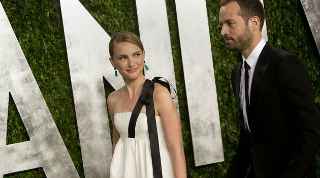 Always Gorgeous: Natalie Portman and hubby Benjamin MIllepied arrive at an after-Oscars party in Los Angeles.