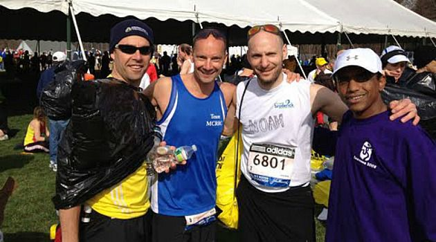 Lessons of Boston : Noam Neusner, second from right, prepares to run in the Boston Marathon.