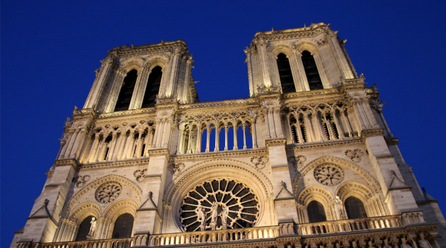 The Notre Dame Cathedral in Paris.