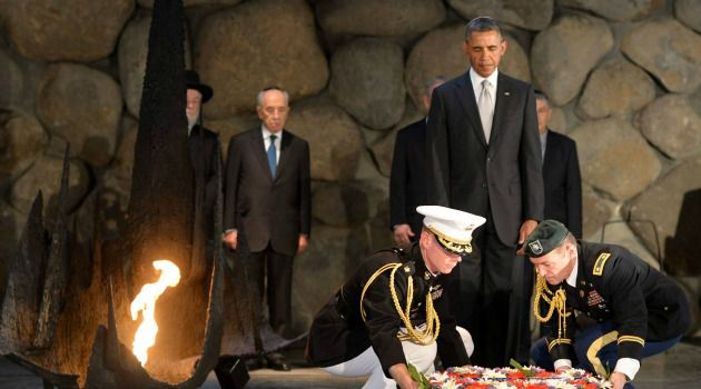Solemn Moment: President Obama lays a wreath at the Yad Vashem Holocaust memorial.