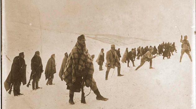 Before They Lost: Austrian troops advancing in the Carpathians in 1914 or 1915.