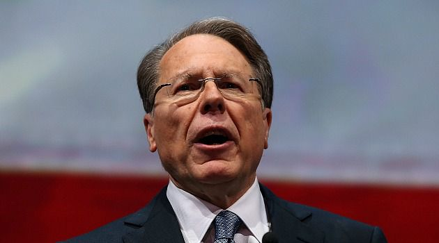 Outrage: National Rifle Association chief Wayne LaPierre cited the Boston Marathon bombings to bolster his fiery attack on gun control laws.