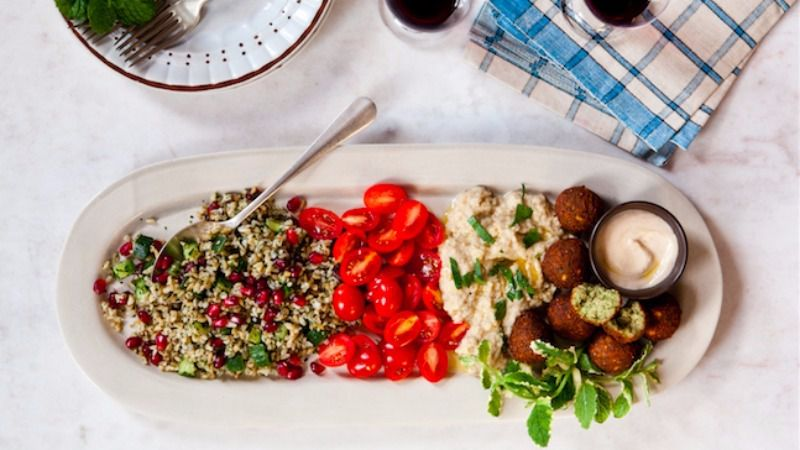 Pomegranate Tabbouleh With Crunchy Falafel, Baba-G and Tahini Sauce