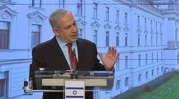 Czech Mate: Benjamin Netanyahu speaks at a press conference in Prague, the first stop on his European trip.