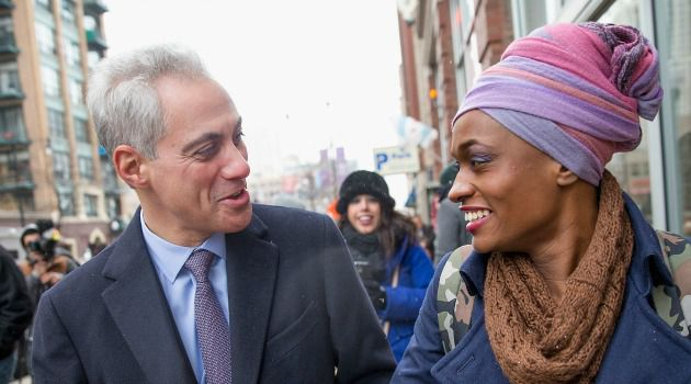 Chicago Mayor Rahm Emanuel greets voter as the Windy City went to the polls.
