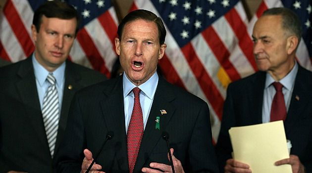 Not Giving Up: Richard Blumenthal (D-Conn.) and Chuck Schumer (D-N.Y.) are among the Jewish lawmakers leading the gun control fight.