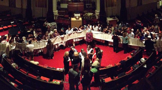 Wandering Jews: Members of Romemu celebrate Simchat Torah at their temporary home at the West End Presbyterian Church in Manhattan.
