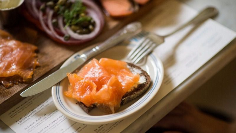 Russ & Daughters' silky Gaspe Nova smoked salmon is part of the brunch appetizing platter.