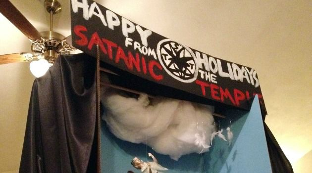 An atheist display at the Florida Capitol Rotunda in Tallahassee was damaged by an angry visitor.