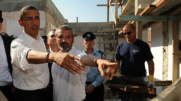 An Eternity Ago: Then-candidate Barack Obama meets with Israeli Pinhas Amar to see damage from Palestinian rockets in his home in Sderot. Amar was impressed with Obama, but has become disillusioned in the four years since.