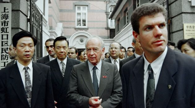 Safe Harbor: Israeli Prime Minister Yitzhak Rabin walks out with Chinese officials after a 1993 visit to the Moses Synagogue which was turned into a museum in memory of the Jews who came to Shanghai during the Holocaust.