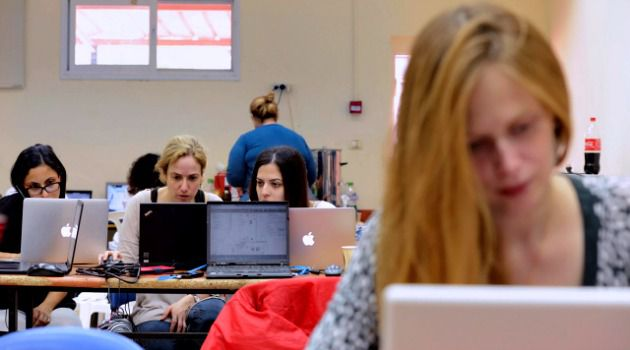 She Codes: Inaugural Shecon hackathon at Givat Haviva, November 21, 2014.