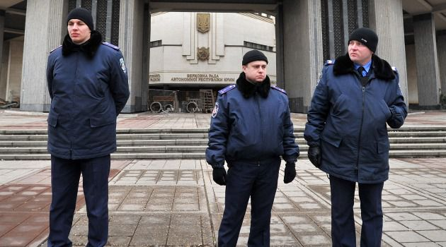 Restive Region: Ukrainian police guard government buildings in Simferopol in the Crimea.